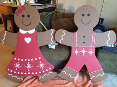 4 ft Gingerbread boy & girl cut out of wood and painted for the front yard; Christmas decorations