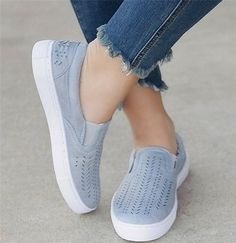 Upper Material:Artificial Suede Accents:Hollow-out Toe Type:Round Toe Heel Height:Low Shoes Style:Slip-On Style:Simple Gender:Women Lining Material:PU H Loafer Sneakers, Slip On Sneakers, Casual Sneakers, Slip On Shoes, Casual Shoes, Shoes Style, Trendy Shoes, Comfortable Mens Boots, Style Simple