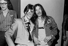 """boys-on-the-radio: """" postpunkindustrial: """" Bowie and Lemmy """" Photoshopped (origonally there was a woman next to David, you can see her hair on Bowie's shoulder) but this picture is cool af """""""