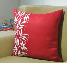 Leaves Decorative Pillow Cover Red Linen Pillow White by KainKain
