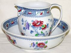 KEELING & CO., ENGLISH LOSOL WARE PITCHER & BASIN SET, CHUSAN PATTERN, EARLY 20TH C., DIA 16:Including 1 water pitcher, H.9 1/2, and 1 basin, Dia.16; transfer-decorated floral motif in blue, red and purple