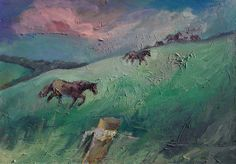 Horses in Izby, oil on canvas