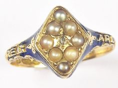 UNUSUAL ANTIQUE VICTORIAN ENGLISH PEARL DIAMOND SENTIMENTAL REGARD RING c1862 Antique Gold Rings, Antique Jewelry, Vintage Antiques, Passion, Brooch, English, Unique, Ebay, Old Jewelry