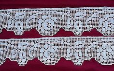 COPPIA DI BORDI  realizzati a mano a uncinetto cotone bianco  cm 74x15