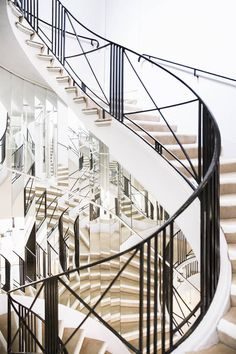 mirrored staircase, a study in geometry, reflection and light