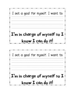 """Goal Setting - love the quote """"I'm in charge of myself so I know I can do it!"""""""
