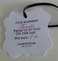 Warmest Thanks Thank You Wedding Favor Tag Flourish Square Personalized
