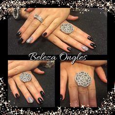 Black nails gel and glitters