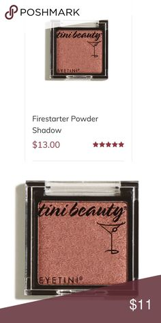 'Tini beauty eyeshadow on fire starter Gorgeous, thick pigment that actually lasts!   Color: fire starter   Burnished amber chrome shadow in a silky crease-resistant formula serves up statement-making eyes in a single shot. Doubles as cheek color, or dab over lipstick for a matte shimmer finish.  Fave part: Cruelty-free, vegan & paraben-free   ***bundle & save*** 'tiny beauty Makeup Eyeshadow