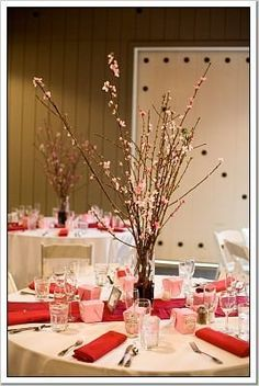 Cherry Blossom table setting , originally uploaded by . wedding colors pink and red, cherry blossom theme spring wedding, Neutral Wedding Flowers, Vintage Wedding Flowers, Cheap Wedding Flowers, Wedding Reception Flowers, Spring Wedding Flowers, Flower Bouquet Wedding, Wedding Colors, Wedding Ideas, Cascade Bouquet