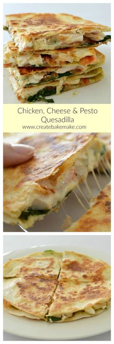 This Cheesy Chicken Cheese and Pesto Quesadilla is both easy and delicious, making