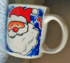 Santa Christmass Candy cane Coffee Mug by VintageVarietyFinds
