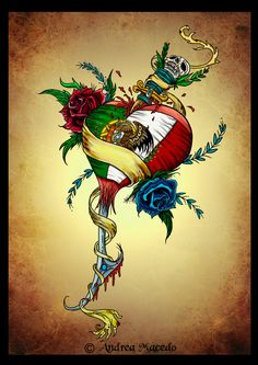 This is the colored version of my Portuguese-Mexican flag heart tattoo design. This is my commissioned tattoo design I created for my friend Paul Lemos back in He's half portuguese half m. Mexican Flag Tattoos, Portuguese Tattoo, Mexico Tattoo, True Love Tattoo, Aztecas Art, Mexican Artwork, Mexican Flags, Mexican Heritage, Mexico Culture
