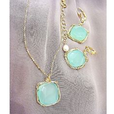 Blue Chalcedony Necklace & Earrings $48 by Raised by wolves NYC