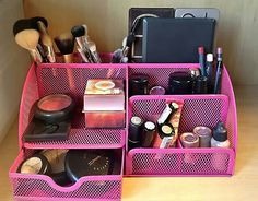 I also use desk organizers for my cosmetics