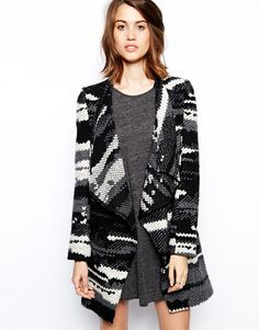 BA&SH Ixia Patch Coat in Textured Wool with Belt black and white open waterfall lapel