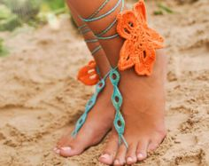 Minimalistic Chained Barefoot Sandals for Bride by BareSandals