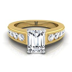 Emerald Cut Engagement Ring With Channel Set Shank And Beaded Detail In 14k Yellow Gold (1/2 Ct.tw.)
