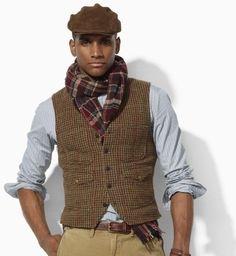 tweed men fashion | Polo Ralph Lauren Tweed Vest in Brown for Men (brown burgundy green …