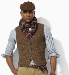 tweed men fashion | Polo Ralph Lauren Tweed Vest in Brown for Men (brown burgundy green …