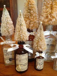 Cute bottle brush trees- add some christmas glitter to inside of bottle
