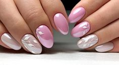Cute nails, Delicate nails, Leaves nails, Nails ideas 2018, Nails trends 2018, Painted nail designs, Pale pink nails, Spring nail art