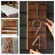 WE could put pretty numbers on a beautiful board.  DIY house number from paint sticks