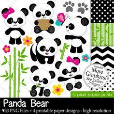Oso Panda Set de Clip Art y Papeles Digitales por pixelpaperprints