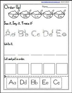 Free Alphabet Printable. What a cute way to practice alpha skills