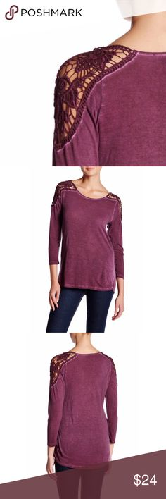 """Lace Shoulder Top scoop neck, 3/4 length sleeves, vintage washed effect, approx. 26"""" at the shortest and 28"""" at the longest, fits true to size, machine washable, rayon/cotton blend  🛒Limited quantities so act fast ⁉️I'm happy to answer all your questions, please ask them before you buy so I can make your purchase in my closet absolutely perfect. Tops"""