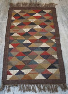 Handmade Wool Jute Kilim Dhurrie Hand-Woven Kelim 2.5x4 Turkish Area Rug #Turkish