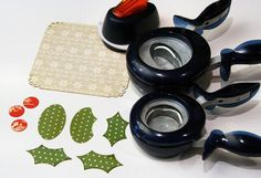 Making holly with oval and circle punches