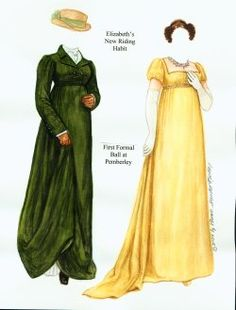 Site for historical and literary paper dolls - [Elizabeth's new riding habit, First Formal Ball at Pemberley] Jane Austen, Victorian Paper Dolls, Vintage Paper Dolls, Merry Widow, Riding Habit, Anna Pavlova, Ziegfeld Girls, Pride And Prejudice, Paper Toys