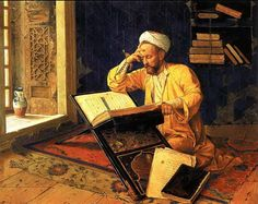Great Muslim Warriors Photo: painting of turkish painter Osman Hamdi Bey showing an ottoman turk reading the Qur'an. Memes Arte, Classical Art Memes, Renoir, Motifs Islamiques, Jean Leon, Empire Ottoman, Arabian Art, Islamic Paintings, Turkish Art