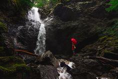 Person, Umbrella, Waterfall, Water, Splash, Stream, Fall, Rocks, Photography