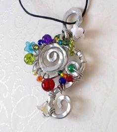 Chakra Acryl Glas Blüten Anhänger-Kette Regenbogenelfe/Fee Nickelfrei bunt Blume