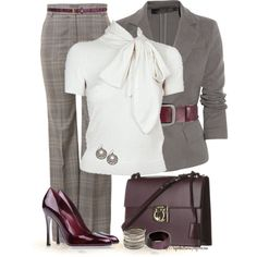 "Great work outfit! ""Fall into the Northwest with Bows"" by tufootballmom on Polyvore"