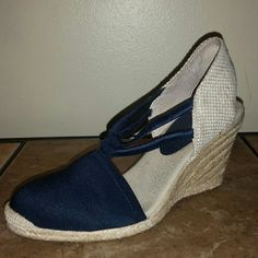 Adrienne Vittadini Espadrille Wedges Navy Blue Espadrilles.  Worn a couple times but still in GREAT condition!  Cute for the Spring/Summer. Adrienne Vittadini Shoes Espadrilles