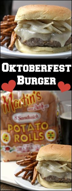 Oktoberfest Burger, an easy burger recipe with pork (or chicken), beer, onions, pretzels, mustard and @potatorolls !  Perfect party food! SnappyGourmet.com (sponsored)