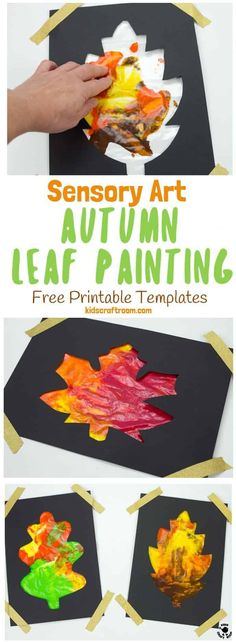 Mess Free Sensory Autumn Leaf Painting is a wonderful activity to explore the changing colours of the season and engage the senses.Kids can watch leaves change colour right in front of their eyes with this hands-on Autumn art idea. (6 Free Printable Leaf Templates) #autumn #fall #autumncrafts #fallcrafts #autumnart #fallart #kidscrafts #kidsart #fallactivities #autumnactivities #sensory #sensoryplay #sensoryart #painting #kidspainting #kidscraftroom   via @KidsCraftRoom