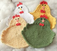 This set of Chicken Potholders is fantastic to have in the kitchen. These hens are not little. They measure right around 9. Perfect for taking those hot pans out of the oven or for protecting your table at dinner. I crochet each chicken with 2 strands of 100% cotton yarn. Theyre very thick and durable. They also have a loop at the top so you can hang them on your wall if youd like. These can be made in any combination of color you would like. Please specify your color choices in a Note To…
