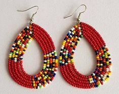 ON SALE African Beaded Earrings Maasai Earrings African | Etsy