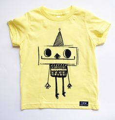 Born in the U.S.A and printed in Wales with eco-friendly ink this refreshing lemon T-shirt features Ricardo robot! Finished with the Corby Tindersticks label and perfect for those who love little people made of nuts and bolts.