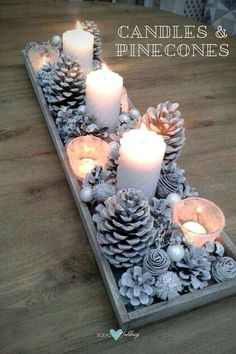 Pinecones and candles for a Christmas wedding. Welcome December!