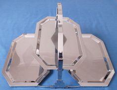 ART Deco Three Tier Folding Silver Chrome Metal Cake Stand Wedding TEA Party | eBay