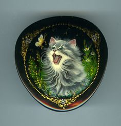 """Russian Lacquer box mstera """"Kitten and butterfly"""" Hand Painted"""