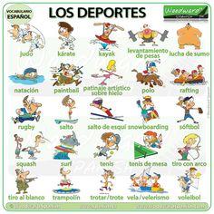 Sports in Spanish Spanish Vocabulary, Teaching Spanish, Spanish Class, Trampolines, Bmx Racing, Horse Racing, Paintball, Rafting, Rugby