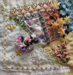 I ❤ crazy quilting, beading & ribbon embroidery . . . Victorian Vintage DYB RR - My work on Kristie's block ~By Rengin Kutbay Yavitas