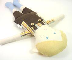 Boy Rag Doll -- Eco Friendly Cloth Doll for Boys -- Personalized Gift -- Sebastian Doll in Overall Shorts & Checkered Shirt -- Keepsake Doll