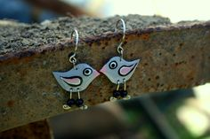 ON SALE Handpainted artisan grey pink cute by HorakovaDesigns, $19.00
